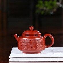 Yixing темно-красный эмалированный керамический чайник полностью ручная НЕОБРАБОТАННАЯ руда ярко-красный халат Zhong Ming Jia Fan Zi Hong Kung Fu чай есть чайник