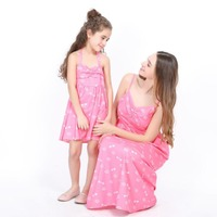 Family matching clothes mother daughter cotton solid party dress pink solid mommy and me baby girl clothes summer beach 2018 XXL