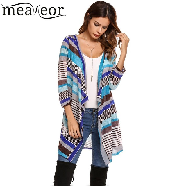 Meaneor Striped Draped Asymmetrical Thin Cardigan Women s 3 4 Sleeve Open  Front Long Autumn Shirt Tops 2018 New Fashion fbcb0c6d3