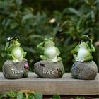 1pc /3pcs Home Garden Decoration Outdoor Art Resin Frog Animal Figurine Ornament Yard Garden Decor