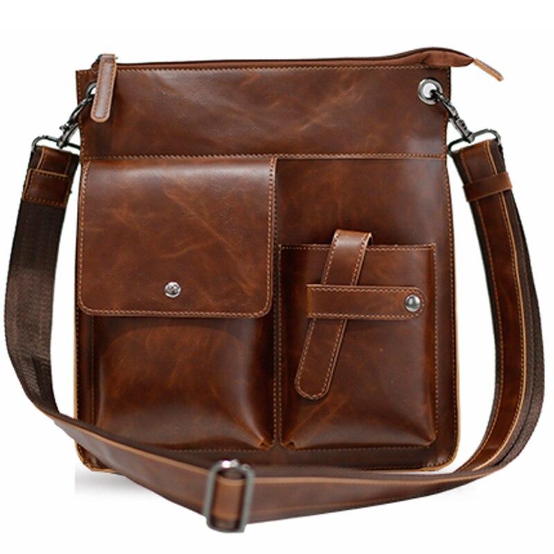 7e8e4bf8fe Brown Men s Shoulder Bag Satchel Handbag Pu Leather Messenger Bags For Men  Casual Cross Body Purse Travel Work Bags Portfolio