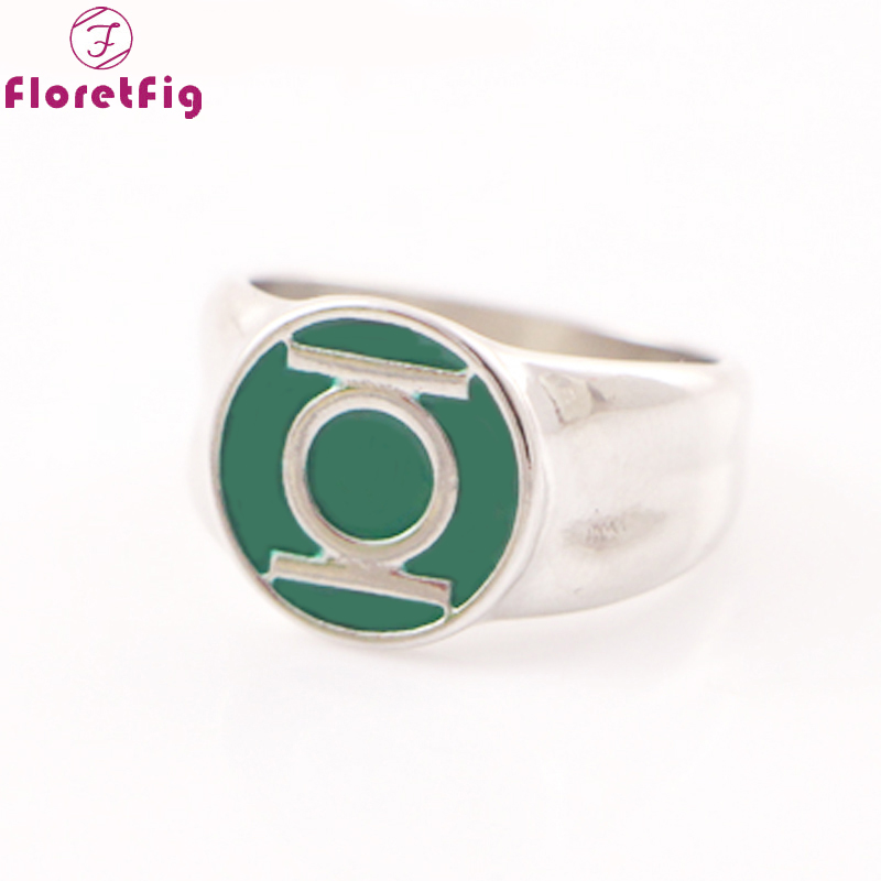 Dc comics green lantern ring silver for mens movie jewelry replica rings for men kids and women cheap lord of the rings