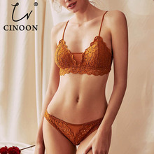 CINOON New Womens underwear Set Lace Sexy Push-up Bra And Panty Sets Comfortable Brassiere Embroidery Cotton Lingerie set
