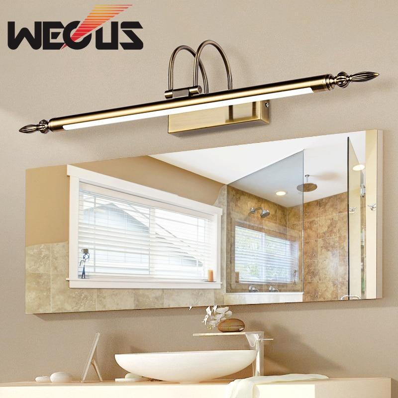 Wecus iluminación de baño bronce níquel arena led espejo luces hotel  restaurante pared 56 cm 0481203daeb6