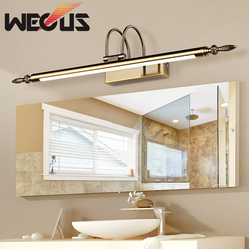 Wecus Bathroom Lighting Bronze /sand Nickel Led Vanity Mirror Lights Kit Hotel Restaurant Wall Sconce 56cm 9W