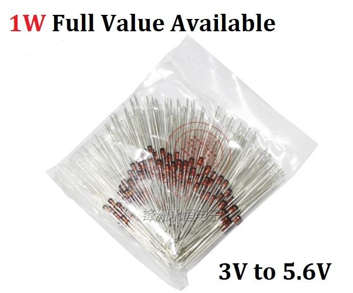 50PCS IN 1N4730A/3. 9V 1N4731A/4. 3V 1N4732A/4. 7V 1N4733A/5. 1V 1N4734A/5. 6V 1W Zener diode 1N4727A 3V/ 1N4728A 3. 3V/ 1N4729A/3. 6V