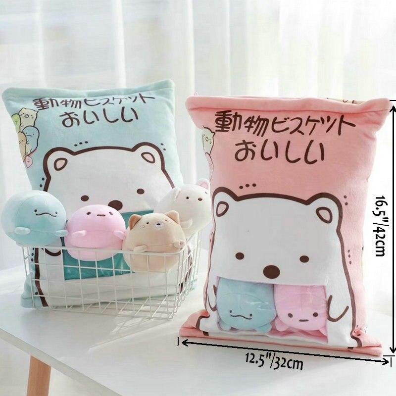 4pcs/8pcs Stuffed Bear Cat Penguin Pillow Plush Animals Toy Japan Anime Animal Cartoon Doll Creative Toys For Children