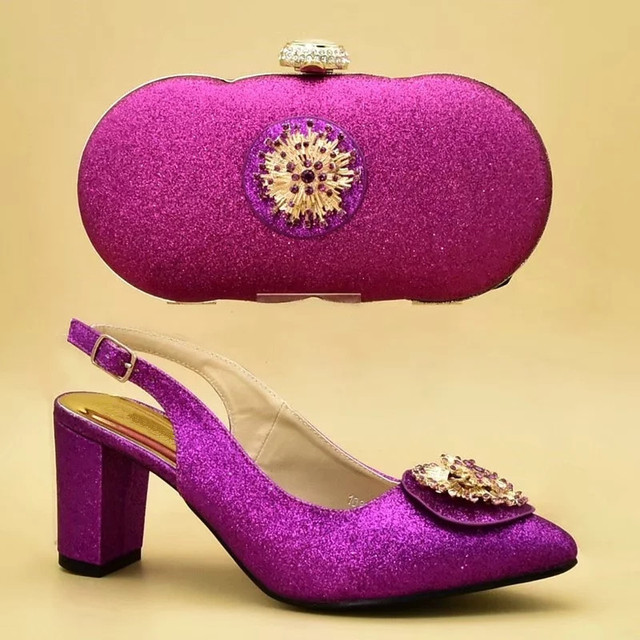 New Fashion Women Shoes and Bags To Match Set Italy Italian Shoes with Matching Bags Set Decorated with Appliques Party Pumps