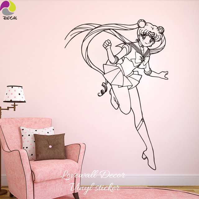 cartoon sail moon girl wall sticker baby nursery girl bedroom