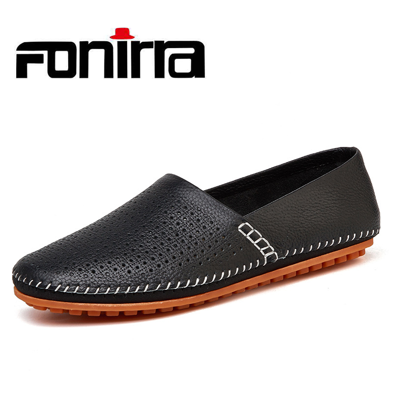 FONIRRA Genuine Cow leather Mens Loafers Moccasins Leather Men Flats Slip On Men Leather Shoes Men Driving Shoes  720 2017 big size 38 46 genuine cow leather shoes men slip on mens shoes casual flats men loafers moccasins warm plush winter shoes