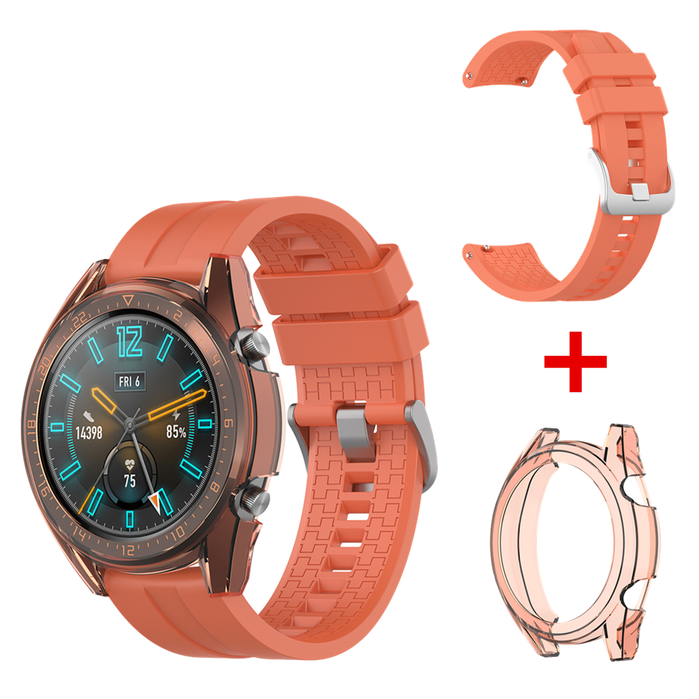 Band Strap For Huawei Watch GT Watch Strap Silicone Watchband + TPU Case Cover For Huawei GT Watch Active/Elegant/Sports/Fashion