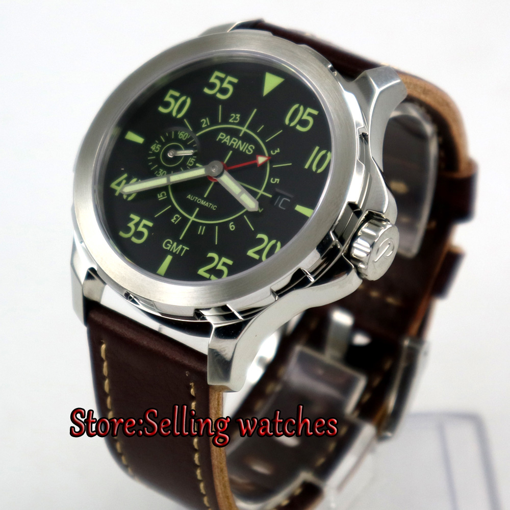 44mm Parnis black dial red GMT Sapphire glass ST 2557 Automatic Mens Watch