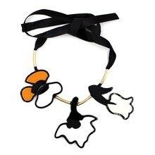 Роскошь 2016 Новый Satement ожерелье цветок марка биб черная лента подвески и ожерелья мода колье длинные ожерелья, украшения для тела