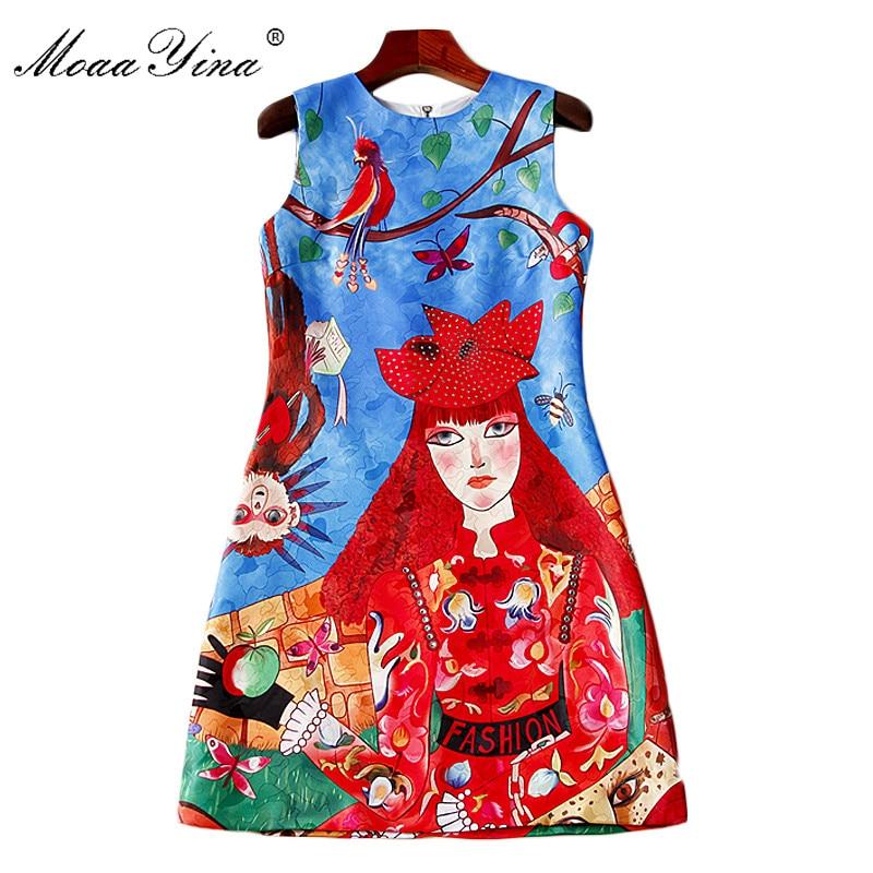 MoaaYina 2018 Fashion Designer Runway Dress Summer Women Sleeveless Floral Print Cartoon Character Beaded Casual Holiday Dress
