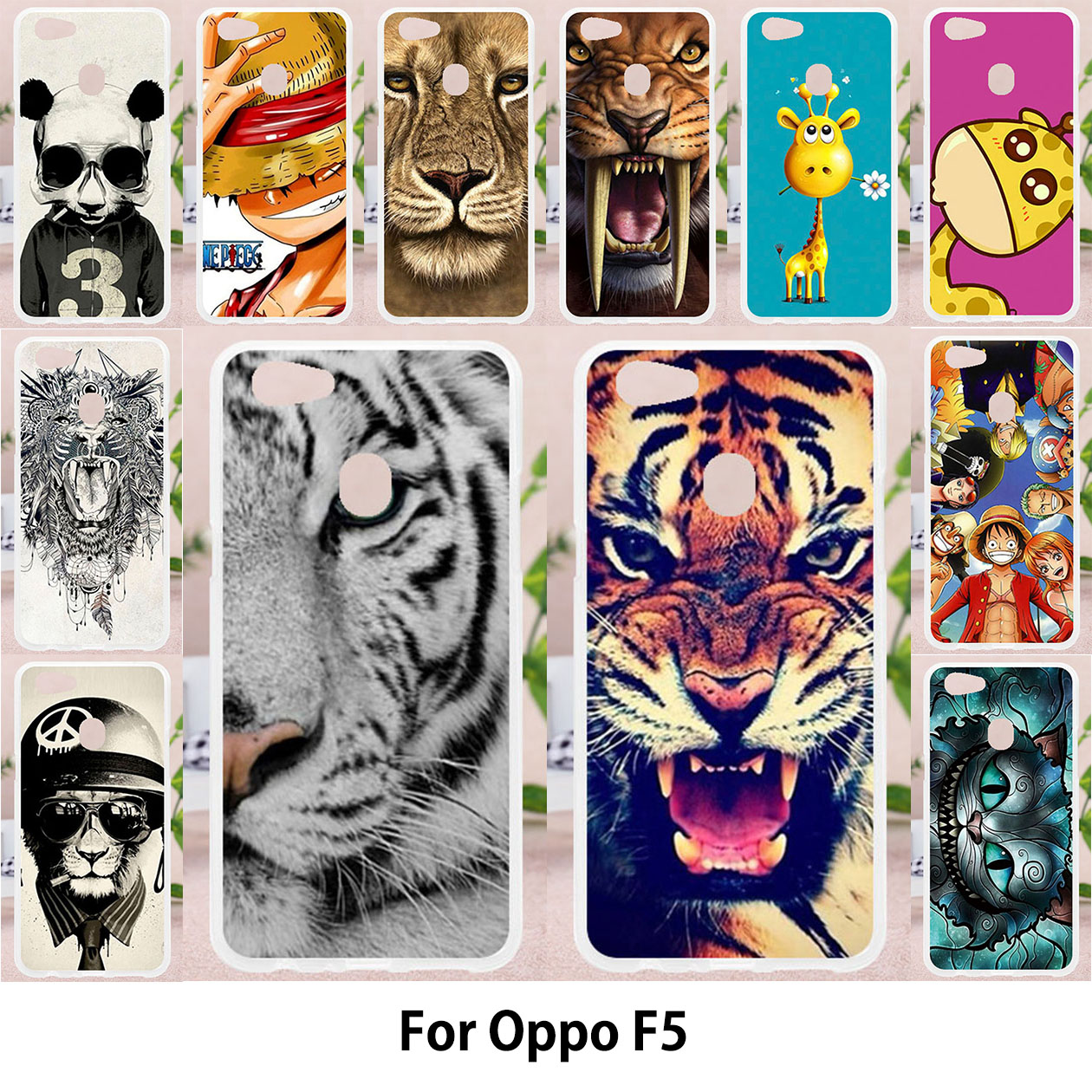 TAOYUNXI For OPPO F5 Case Silicon TPU Soft Back Covers OPPO F5 Cases Cute Animal Phone Cover Painting Tiger Cat Patterned Shell