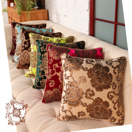 Luxury Throw Pillows For Sofas Vintage Flower Embroidered Throw Pillows For Leather Couch Luxury ...