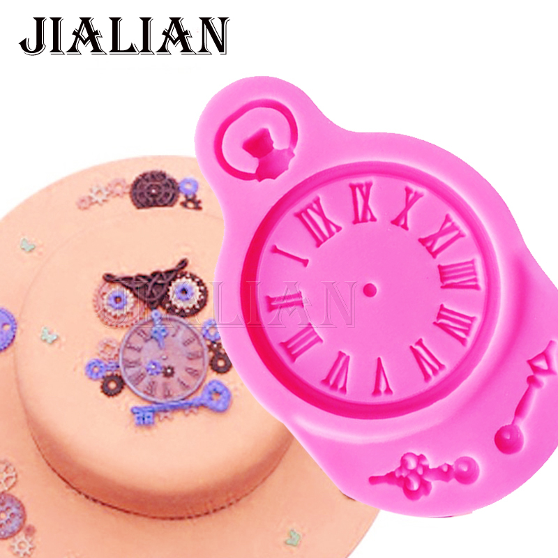 YeFu cake fondant silicone mold Clock baking Molds cake Decorations tools  Polymer Clay Resin Candy Fimo Super Sculpey T0714