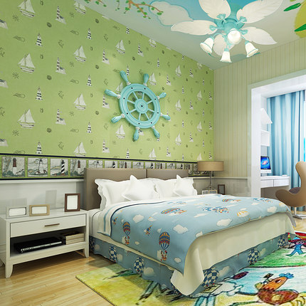 Mediterranean non-woven wallpaper children's room green sailboat wallpaper boys and girls bedroom bedside study non woven luminous wallpaper roll stars and the moon boys and girls children s room bedroom ceiling fluorescent home wallpaper