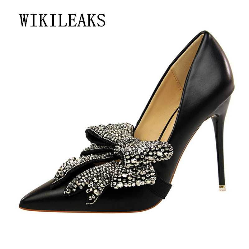Ladies Butterfly Knot Shoes Woman Extreme High Heels