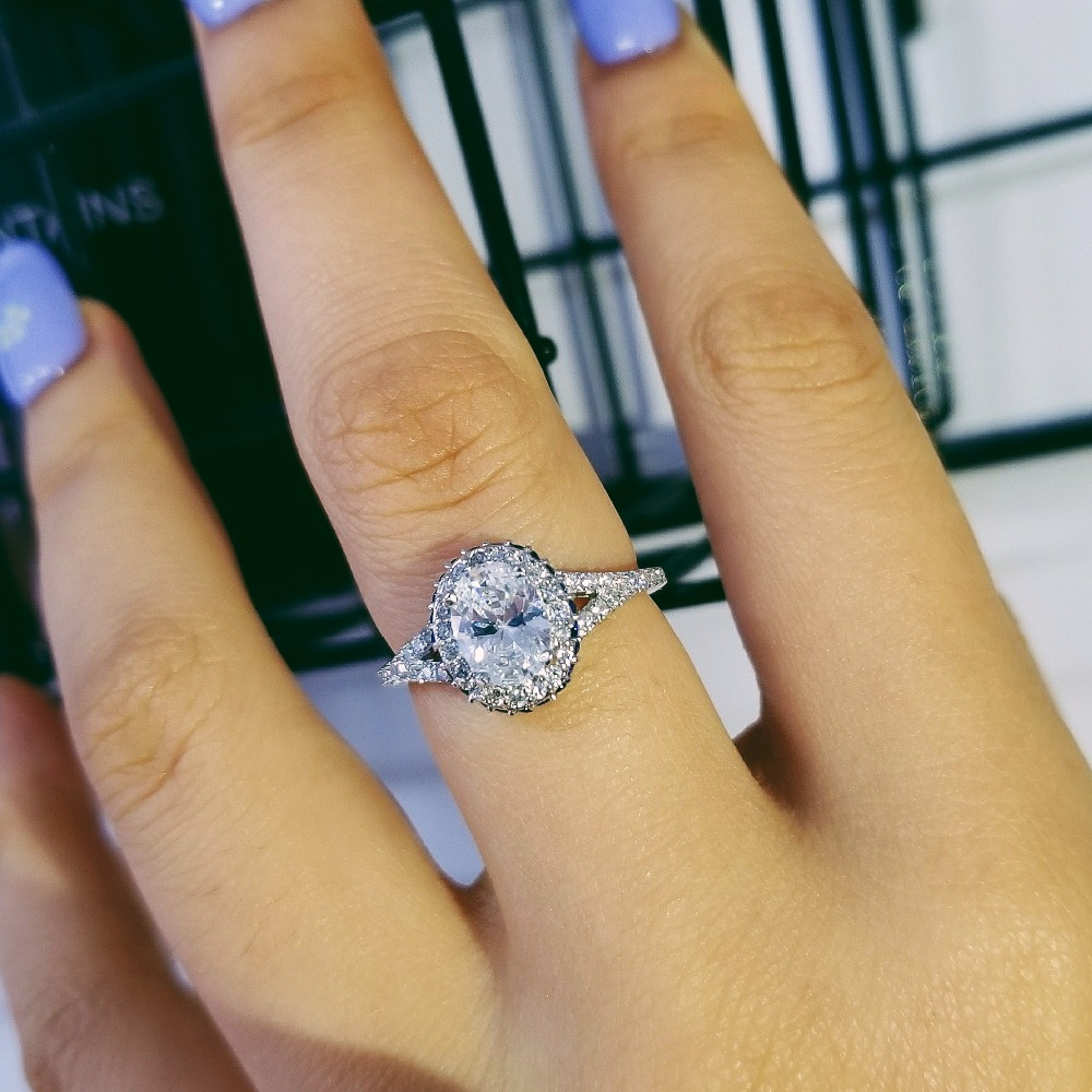 New 925 Sterling Silver Engagement Ring Genuine Pure 925 Sterling Silver Jewelry Fashion Set For Wedding personalized R4205 in Engagement Rings from Jewelry Accessories