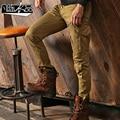 2015 осень упругой тонкий Мульти Карманы Брюки комбинезоны единые военный грузовой брюки оснастки брюки для мужчин