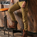 2015 fall elastic slim Multi Pockets Slacks overalls uniform army military cargo pant tooling pants for men