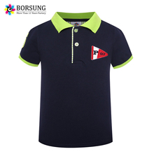 BORSUNG High Quality Solid Color Cotton Short Sleeve Boys Brand Polo Shirt