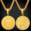 San Benito Medalla Encantos Colgante de Collar de Regalo de La Joyería Redonda Ovalada de Acero Inoxidable/Chapado En Oro de la Cadena de Los Hombres/de Las Mujeres 2016 nueva GP1895