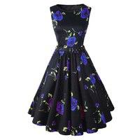 Flower Print Vintage Dress Summer 50s Pinup Women Ladies Swing Rockabilly Dresses Evening Party Skater Dress Plus Size Clothes