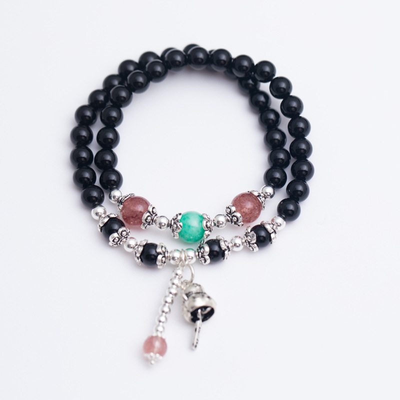 LouLeur 925 sterling silver natural black agate strawberry quartz bracelets natural stone Green Quartz agate bracelets for women все цены