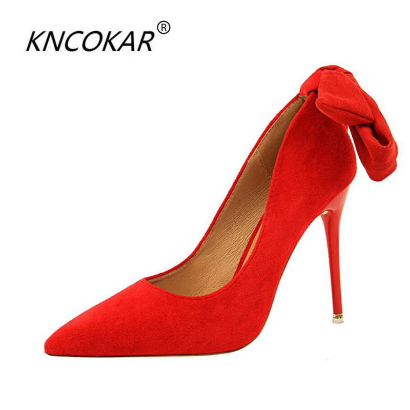 KNCOKAR2018Ultra high heel fine with simple flannelette a pointy band high heels with single shoes with bowsKNCOKAR2018Ultra high heel fine with simple flannelette a pointy band high heels with single shoes with bows
