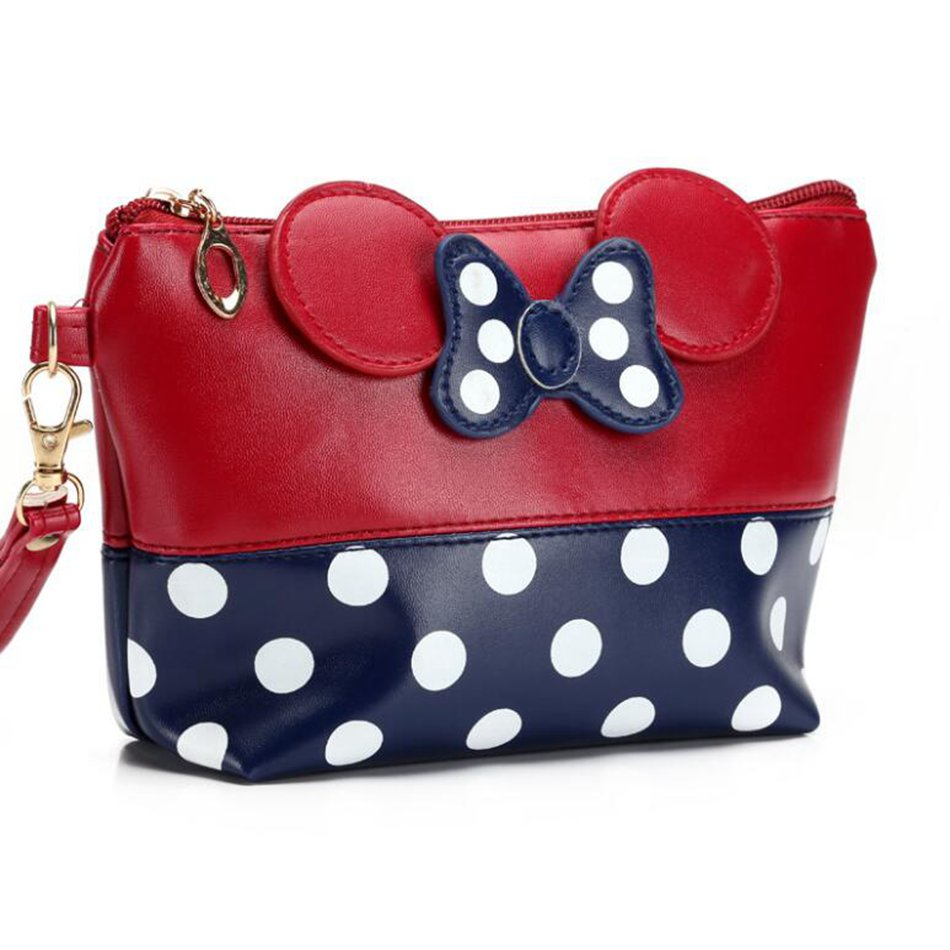 Cartoon Minnie Make Up Bag Fashion Large Capacity Bow Tie Cosmetic Bags Traffic Kit Women Dots Makeup Bag Toiletry Kit