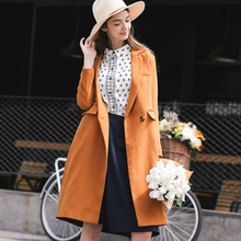 LESIES Girls Autumn Spring Lengthy Trench Coats Excessive High quality Slim Waist Outerwear Feminine Windbreaker Stable Garments LS167301