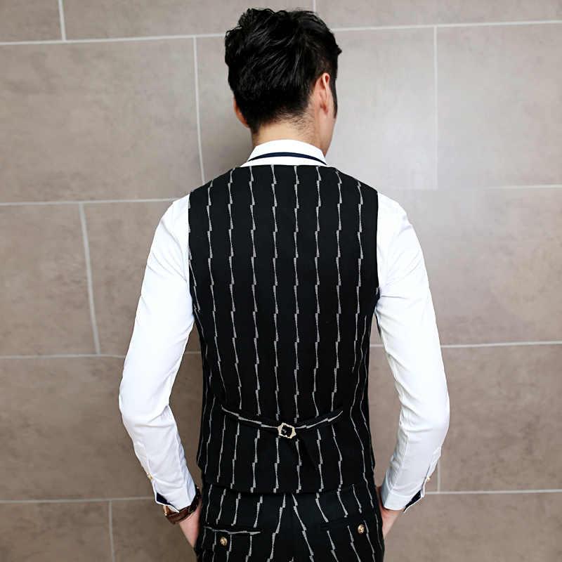 男性黒のスーツのベスト古典的なビジネスカジュアル男性ドレスベストサイズ 3XL スリムフィットメンズベスト高品質ストライプチョッキ男