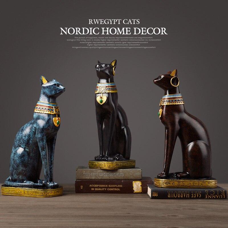 크리 에이 티브 이집트 행운의 고양이 하나님 미니어처 입상 수지 공예 바탕 화면 페르시아 고양이 장식품 집들이 선물 홈 장식-에서피규어 & 미니어처부터 홈 & 가든 의  그룹 1