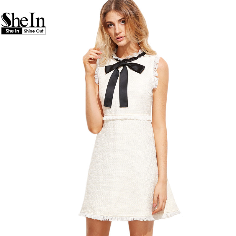SheIn Autumn Dresses Women 2016 Ladies White Party Dresses Bow Tie Neck Sleeveless Elegant Frayed Trim Tweed Dress