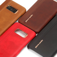 Pierre Cardin Hot Sale Brand Ultrathin Genuine Leather Hard Back Cover For Samsung Galaxy S8 S8