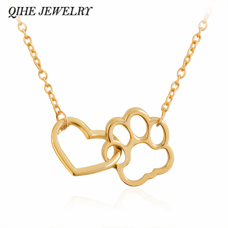 faf42d090660e US $1.0 42% OFF|QIHE JEWELRY Heart & Dog Paw Charm Necklace Gold Silver 2  Color Puppy Foot Print Lover Pet Jewelry Best Gifts For Women-in Pendant ...