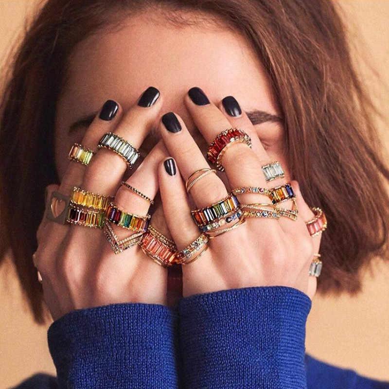 AOTEMAN Высокое качество Смешанные цвета радуги кубический циркониевый браслет кольцо на палец для женщин Baguetee CZ Кристалл Мода мода кольцо ювелирные изделия 2019