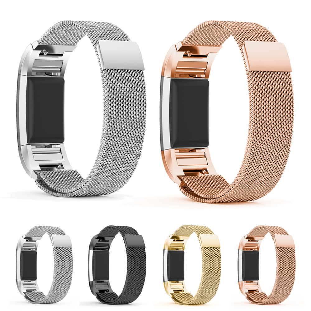 mijobs Stainless Steel Magnetic Milanese Loop Band for Fitbit Charge 2 Replacement Wristband Strap Watchband