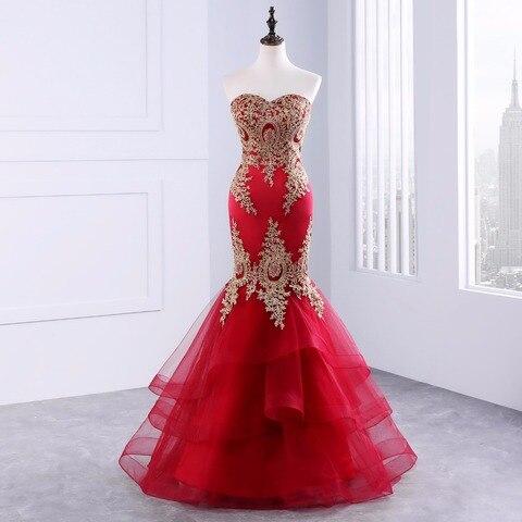 Fora do Ombro Vestido de Noite Vestido de Festa sem Costas Vestidos de Baile com Bordados em Camadas Elegante Sereia Formal 2020 Ggf-87