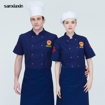 M-4XL high quality chef uniforms Food Service restaurant catering chef Workwear embroidery double breasted Chef Jacket 4 colors