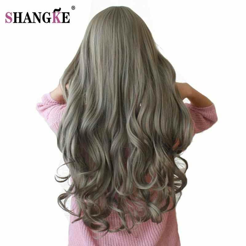 SHANGKE 26 ''Uzun Dalgalı Renkli Saç Peruk Isıya Dayanıklı Sentetik Peruk Beyaz Kadınlar Için Doğal Kadın saç parçaları 7 Renk