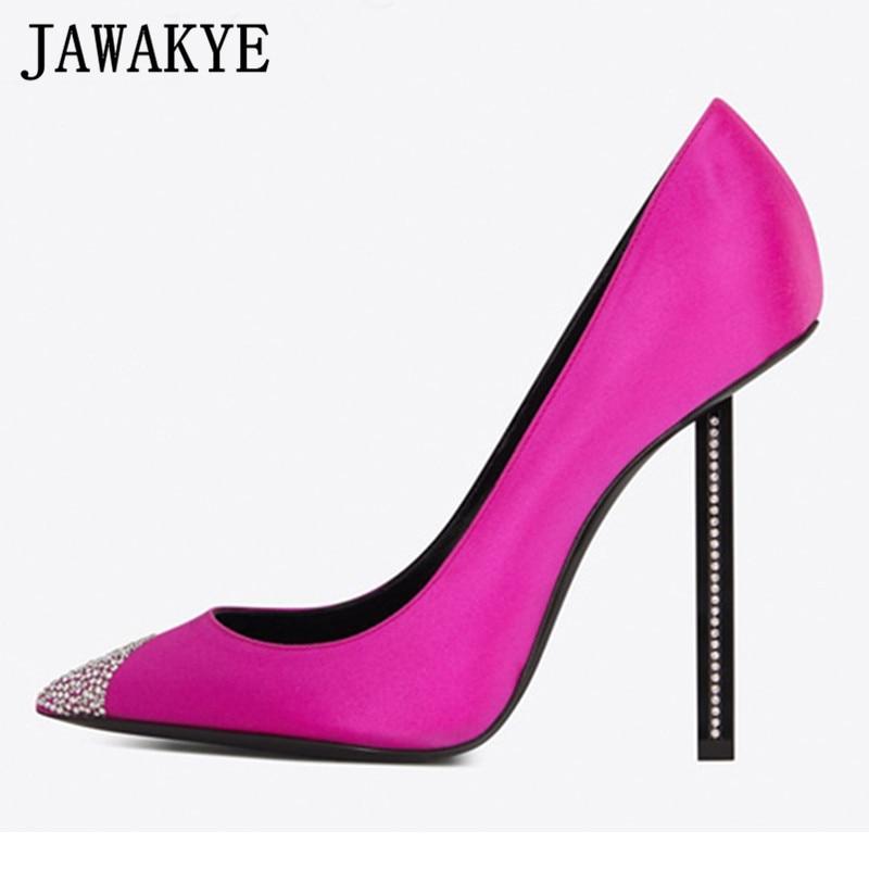 Spring shallow dress pumps pointed toe silk satin crystal decor high heels stilettos rhinestone bridal wedding