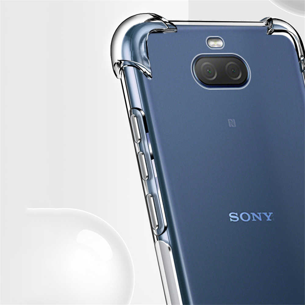 Funda de esquina reforzada para Sony Xperia 1 5 8 10 Plus L1 L2 L3 XZ XZ1 XZ2 XZ3 Premium XA1 XA2 funda suave transparente de Ultra protección