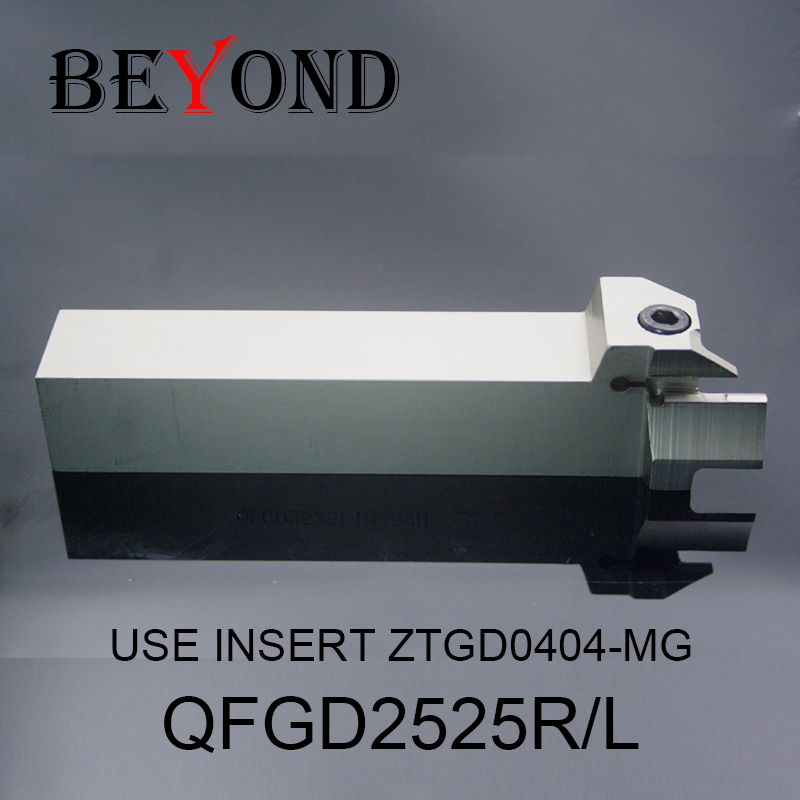 BEYOND QFGD2525L22 52H 64H 90H 130H End Face Cutting Grooving Tool Holder QFGD 25mm ZCC Carbide Inserts ZTGD0404-MG QFGD2525