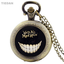 TIEDAN Hot Sale Var All Mad Here Design Antik Brons Steampunk Fickur för män Vintage Watch med Hängande Watch Gift