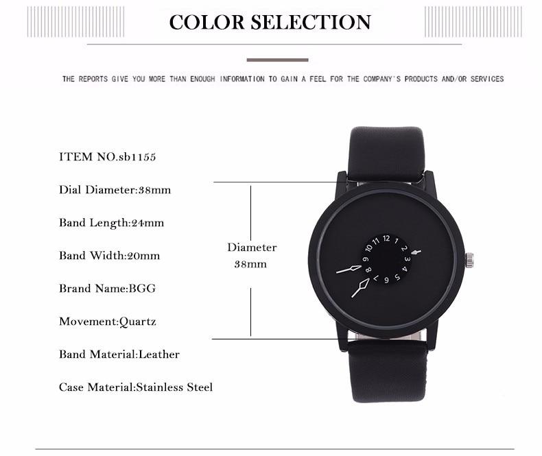 Hot fashion creative watches women men quartz-watch BGG brand unique dial design minimalist lovers' watch leather wristwatches 14