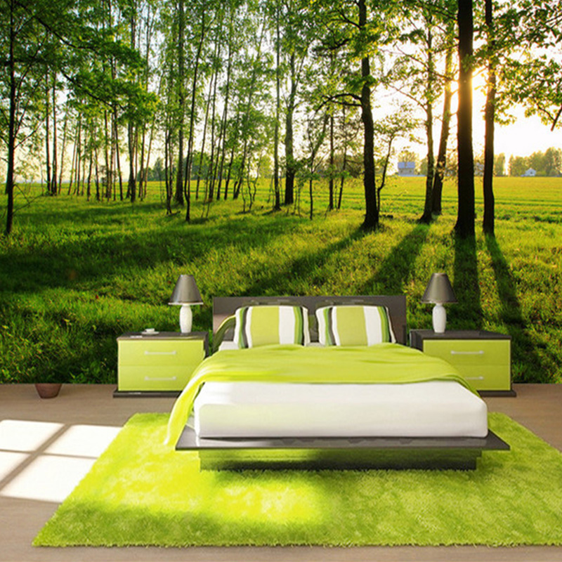 Modern Simple Green Forest Sunshine Photo Mural Wallpaper For Walls 3 D Living Room Bedroom Backdrop Wall Decor Papel De Parede custom baby wallpaper snow white and the seven dwarfs bedroom for the children s room mural backdrop stereoscopic 3d
