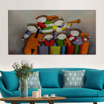 Handpainted Oil Paintings Kids Concert Playing Decorative Pictures High Quality Lovely Wall Stickers on Canvas Home Decor